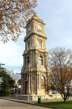 tower with clock in dolmabahce palace - istanbul turkey photo