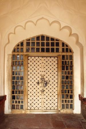 agra: ornamental door in Agra fort India Stock Photo