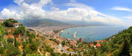panorama of Alanya Turkey - view from fortress 스톡 콘텐츠