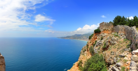 panorama of mediterranean sea - view from fortress Alanya Turkey photo