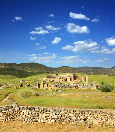 hierapolis: landscape with ancient amphitheater and ruins in Pamukkale Turkey