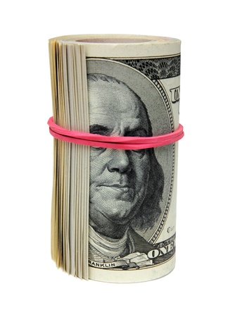 subornation: roll of 100 dollar bills, tie blind eye to Franklin - the concept of bribery