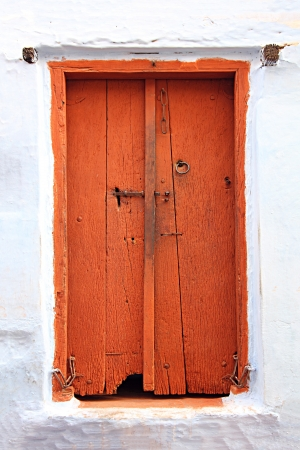 old obsolete wooden closed door in india photo
