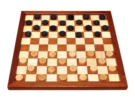 draught: wooden checkerboard with checkers spaced isolated on white Stock Photo