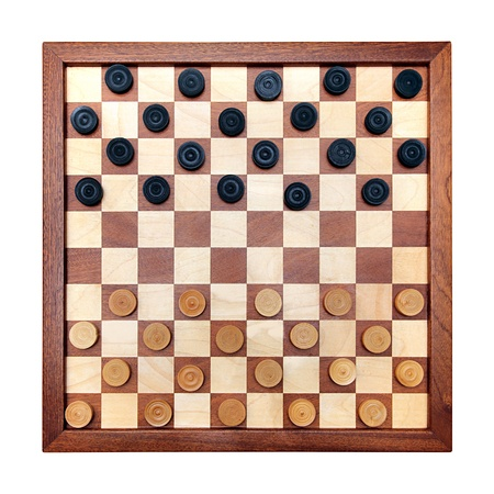 boardgames: wooden checkerboard with checkers spaced isolated on white Stock Photo