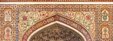 indian ornament on wall of palace in Jaipur fort India Stock Photo - 23000360