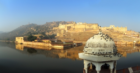 jaipur: panorama with fort and lake in Jaipur India Stock Photo