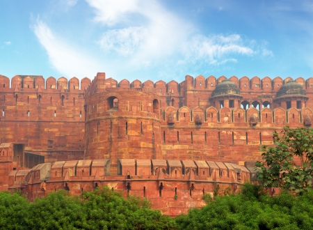 mogul: red fort wall in Agra India