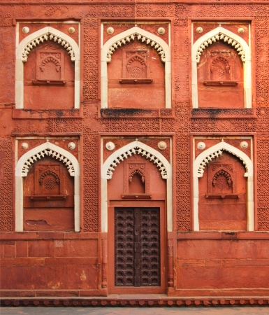 building fragment with door in red fort Agra India photo