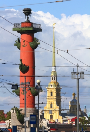 St. Petersburg - rostral column and Cathedral of Peter and Paul Fortress - Russia