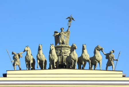 hermitage: sculptural group on Arch of General Staff on palace square in St. Petersburg Russia