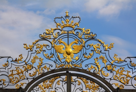 saint petersburg: fragment of catherine palace gate in Tsarskoye Selo - Saint-Petersburg Russia
