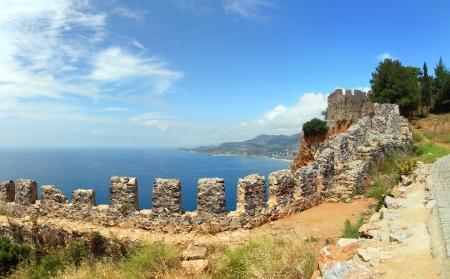 turkey beach: panorama of mediterranean sea - view from fortress Alanya Turkey Stock Photo