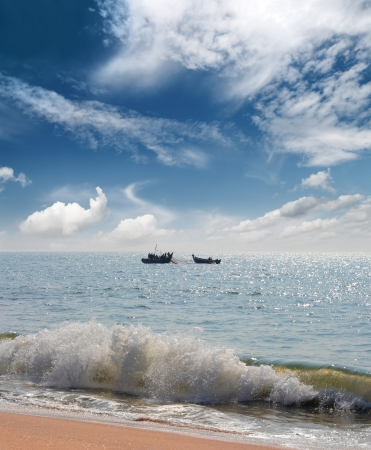 india fisherman: landscape with fisherman boats in sea - India