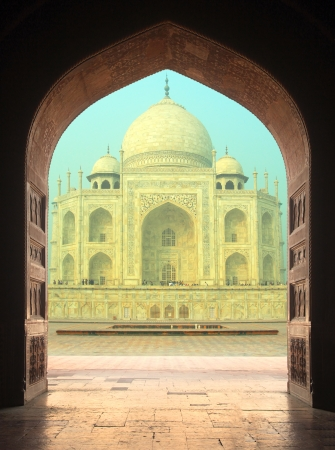 view on Taj Mahal mausoleum from arch - Agra India photo