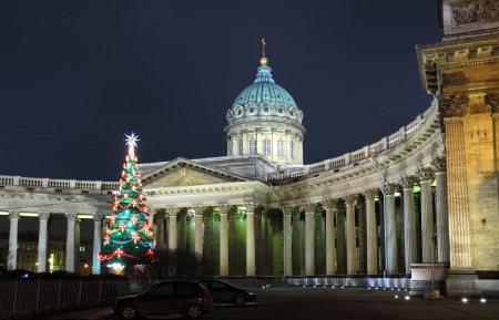 kazanskiy: Kazan Cathedral and Christmas tree at night in St. Petersburg Russia