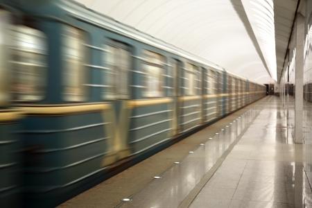 train fast moving at subway station   photo