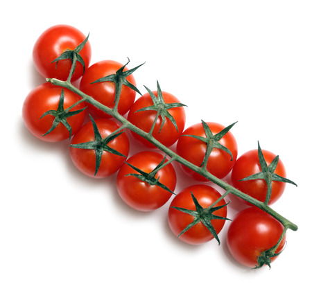 tomatos: cherry tomatoes on stem isolated on white