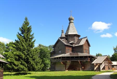 novgorod: old russian wooden architecture church in Velikiy Novgorod