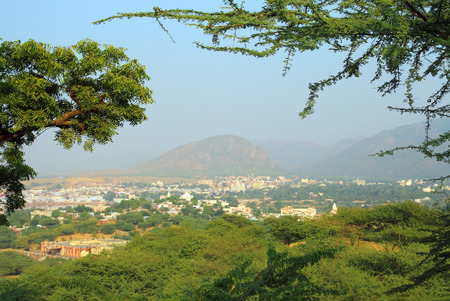 beautiful view from hill on holy city Pushkar in India photo