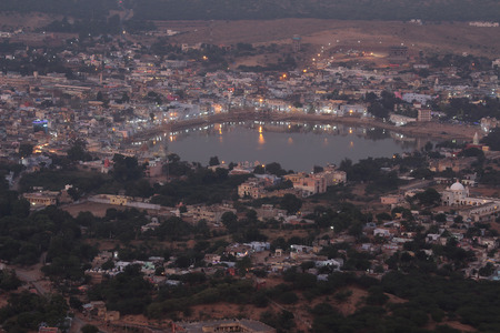 holy lake in Pushkar at night - India photo