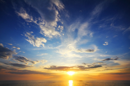 beautiful landscape with sunset over sea 스톡 콘텐츠