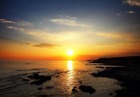 beautiful landscape with sunset over sea Stockfoto