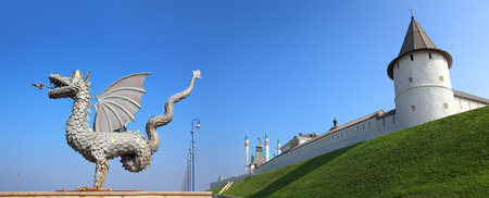 panorama with dragon and kremlin in kazan russia