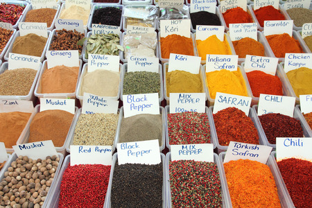 variety of many spices on turkish market photo
