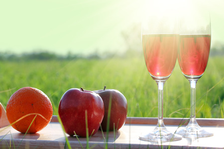 picnic - tabe with wine, wineglasses and fruits against sun photo