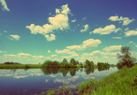 beautiful summer lake landscape in Russia - vintage retro style photo