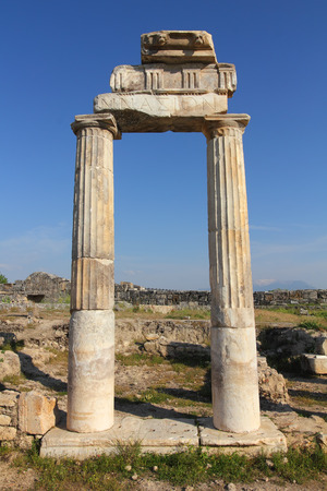 fragment of ancient building near Pamukkale in Turkey photo