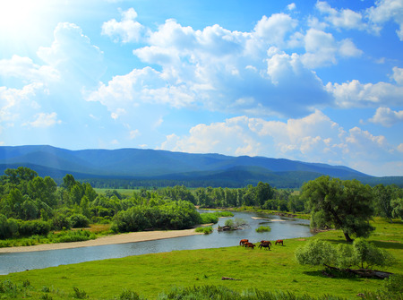 summer landscape with river between mountains and grazing horses - South Ural photo