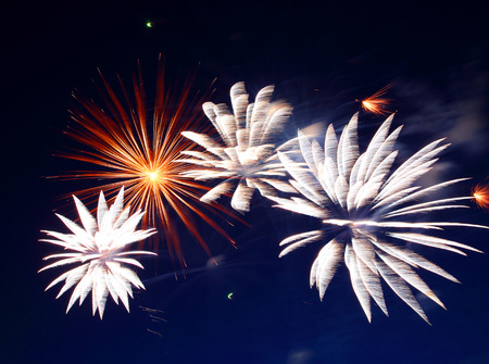 fire show: beautiful fireworks show in the night sky  Stock Photo