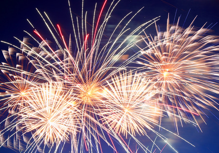 fire shows: beautiful fireworks show in the night sky Stock Photo
