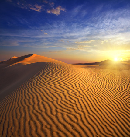 beatiful landscape with sunset in desert photo