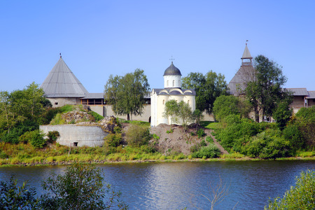 Staraya Ladoga fortress. Church of St. George and marquees turrets. Russia.