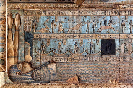 fertility goddess: Hieroglyphic drawings and paintings on the ceiling and walls of the ancient Egyptian temple of Dendera Editorial