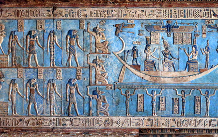 Hieroglyphic carvings and paintings on the interior walls of an ancient egyptian temple in Dendera Reklamní fotografie - 35312463