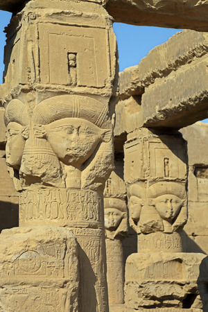 fertility goddess: Ancient Egyptian fertility goddess Hathor sculptures on the pillars in the temple of Dendera
