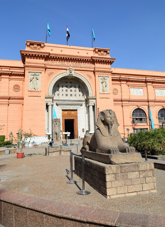 egyptology: Small sphinx statue near Egyptian Museum in Cairo, Egypt Editorial