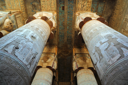 womanhood: Interior of the painted and carved hypostyle hall at Dendera Temple. Ancient Egyptian temple near Qena.