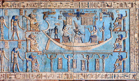 fertility goddess: Hieroglyphic carvings and paintings on the interior walls of an ancient egyptian temple in Dendera