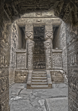 fertility goddess: Ancient Egyptian fertility goddess Hathor sculptures on the pillars in the temple of Dendera. HDR image