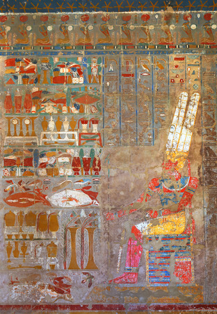 ancient egyptian civilization: ancient egypt color images on wall in luxor Editorial
