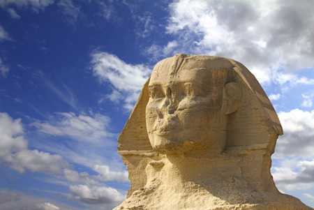 Sphinx: famous ancient egypt sphinx head in Giza Cairo