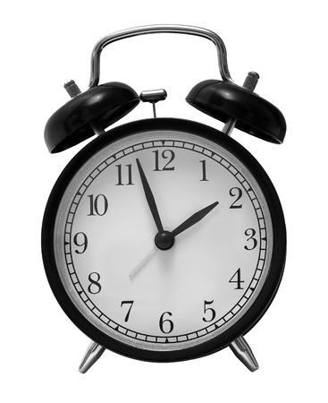 黒レトロな目覚まし時計白で隔離