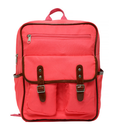 pink school backpack isolated on white background Foto de archivo
