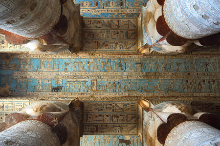 fertility goddess: Interior of the painted and carved hypostyle hall at Dendera Temple, Ancient Egyptian temple near Qena. Stock Photo