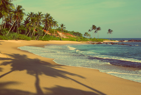 beautiful tropical beach at sunset with palm shadows - vintage retro style photo